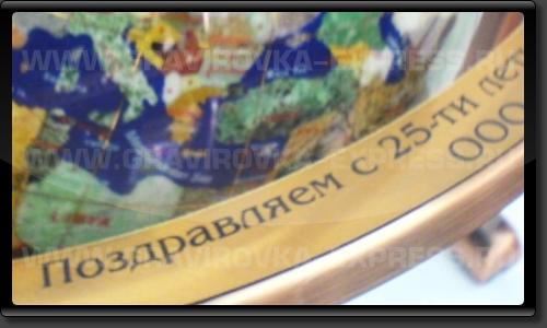 Шильд с поздравительной надписью на глобусе