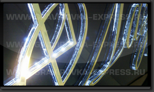 Подсветка символов вывески по контуру