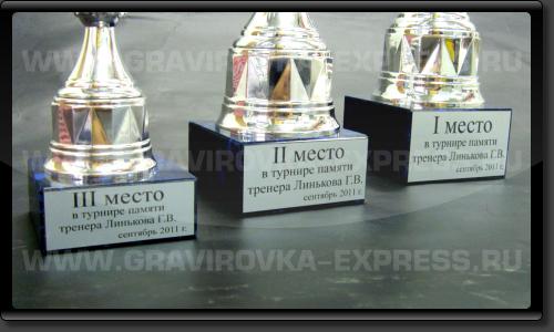 Шильды с наградной надписью на кубках